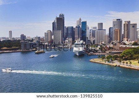 sydney australia city landmarks CBD sunny summer day view blue harbour water, boats, circular quay liner terminal - stock photo