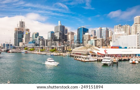 SYDNEY, AUSTRALIA-DEC 24,2014:City scape of Darling Harbour on Dec 24, 2014 in Sydney,Australia.Harbour is a large recreational and pedestrian precinct that is situated on western outskirts of Sydney.