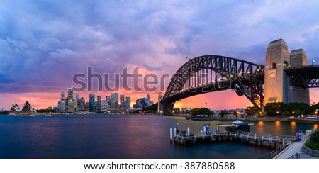 SYDNEY AUSTRALIA - DEC 9: Sydney harbour while storm is coming on December 9, 2015 at Harbour bridge in Sydney Australia.
