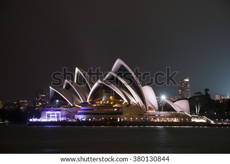 Sydney, Australia - December 2013: Opera House at night