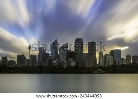SYDNEY, AUSTRALIA - December 20, 2014; Sydney City , Sydney Harbour and Sydney city buildings  on twilight. - stock photo