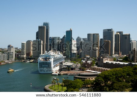 SYDNEY, AUSTRALIA - December 12, 2016: Sydney's famous Circular Quay as seen from the Harbour Bridge