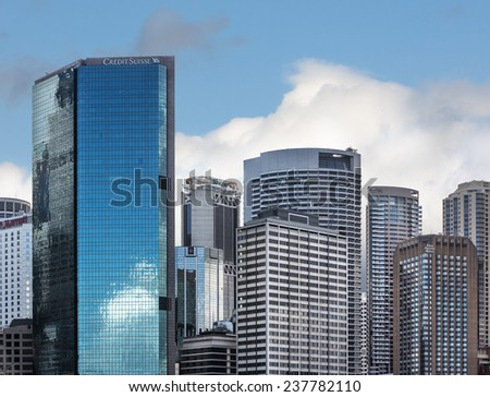 SYDNEY, AUSTRALIA - DECEMBER 12, 2014: The Sydney central business district is the main commercial centre of Sydney, Australia - stock photo