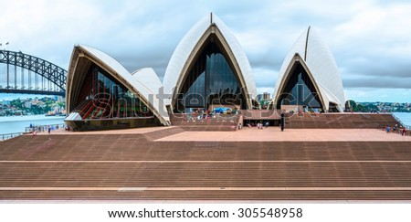 SYDNEY, AUSTRALIA - 09 DECEMBER 2014: The Sydney Opera House is a multi-venue performing arts center in Sydney, New South Wales, Australia. Situated on Bennelong Point in Sydney Harbour. - stock photo