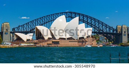 SYDNEY, AUSTRALIA - 29 DECEMBER 2014: The Sydney Opera House is a multi-venue performing arts center in Sydney, New South Wales, Australia. Situated on Bennelong Point in Sydney Harbour. - stock photo