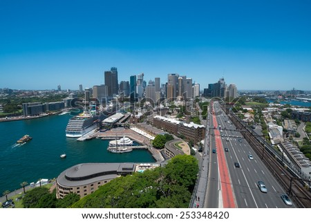 SYDNEY, AUSTRALIA- DECEMBER 30: View of the Sydney Harbour Bridge road leading to Sydneys CBD and Circular Quay from the Eastern Pylon Lookout in December, 2014. - stock photo