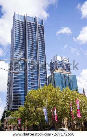 SYDNEY, AUSTRALIA - FEBRUARY 12, 2015: Modern skyscrapers in Sydney, Australia. Sydney is the state capital of New South Wales and the most populous city in Australia. - stock photo