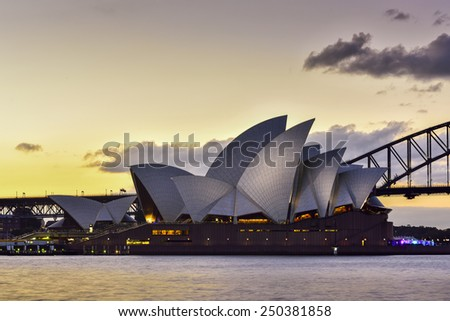 SYDNEY AUSTRALIA - February 6, 2015 : View of sunset at Sydney Opera House in Sydney, Australia.Over 10 millions tourists visit Sydney every year,making Sydney one of the world's tourist destinations.