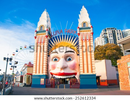 SYDNEY, AUSTRALIA -  JAN 7, 2015.  Lunar Park on Jan 7, 2015 in Sydney. It is an amusement park located at Milsons Point in Sydney,  Australia.  - stock photo