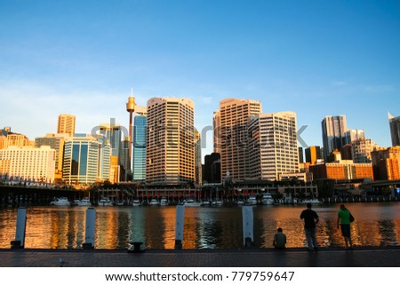 SYDNEY, AUSTRALIA - JAN 6 2008:  Sunset in Darling Harbour, a recreational and pedestrian precinct in New South Wales of Sydney.