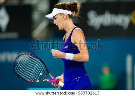 SYDNEY, AUSTRALIA - JANUARY 10 : Agnieszka Radwanska in action at the 2017 Apia International Sydney WTA Premier tennis tournament