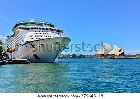 Sydney, Australia - January 25: Sydney Opera House and a cruise ship in Sydney Harbour on January 25, 2015 in Sydney, Australia. - stock photo