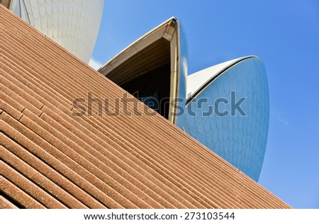Sydney, Australia - January 23: Sydney Opera House on January 23, 2015 in Sydney, Australia. The Sydney Opera House is one of the most famous buildings and performing arts centers in the world. - stock photo