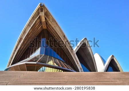 Sydney, Australia - January 23: Sydney Opera House on January 23, 2015 in Sydney, Australia. The Sydney Opera House is one of the most famous performing arts centers in the world. - stock photo