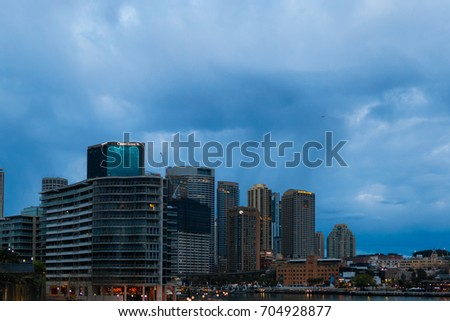 SYDNEY, AUSTRALIA - JULY 16, 2017: A stormy morning on the Sydney CBD area.