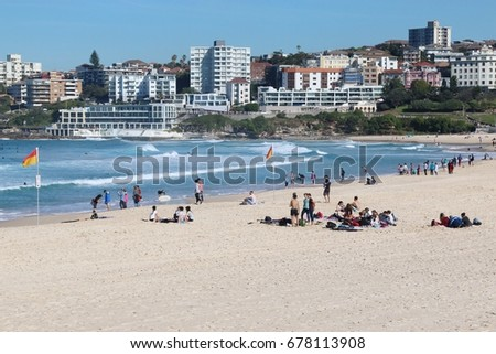 SYDNEY,AUSTRALIA-July 13, 2017: Resident people and tourist relaxing at Bondi beach in Sydney, Australia . Bondi beach is one of a famous beach in the world.