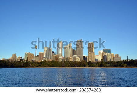 Sydney, Australia - July 17, 2014: Sydney City Skyline from Macquaries point, Australia
