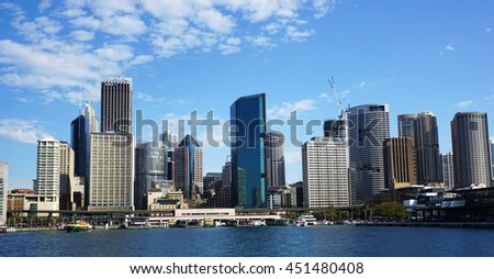 SYDNEY, AUSTRALIA - JUNE 20, 2016: Dramatic view at Sydney city urban skyline from Western Plains with blue sky and clouds on a bright day