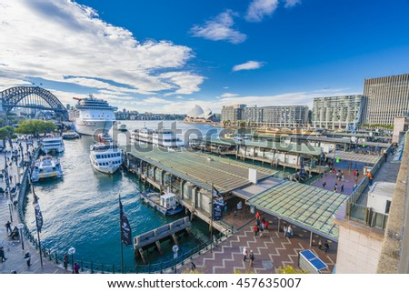 Sydney, Australia - June 23, 2016: People visiting Circular Quay in Sydney CBD, with view of Harbour Bridge and Opera House