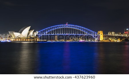 Sydney, Australia - June  14, 2016: Sydney Harbour Bridge and Opera House at night as part of the Vivid Sydney festival.