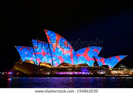 SYDNEY, AUSTRALIA - June 3: Sydney Opera House shown during Vivid Sydney:  A Festival of Light, Music & Ideas on May 25, 2013 to Jun 9 ,2013 in Sydney, Australia.