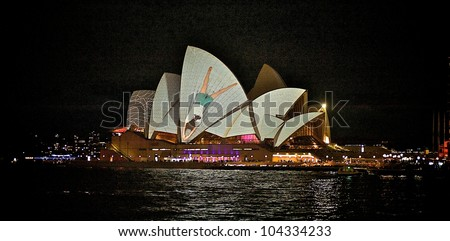 SYDNEY, AUSTRALIA - JUNE 1: Sydney Opera House shown during Vivid Sydney on June 1, 2012 in Sydney, Australia. Vivid Sydney is a Festival of Light, Music & Ideas.