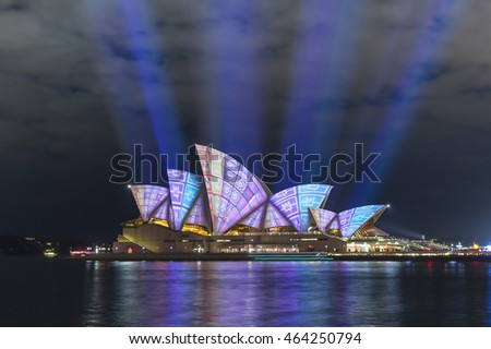 Sydney, Australia - June 15, 2016: The Sydney Opera House has a colorful design projected onto its sails at night as part of the Vivid Sydney festival.