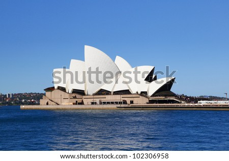 SYDNEY, AUSTRALIA - MARCH 22: Side view of Sydney's most famous icon, the Sydney Opera House on March 22,2012 in Sydney, Australia. The Opera House will celebrate its 40th anniversary in 2013. - stock photo