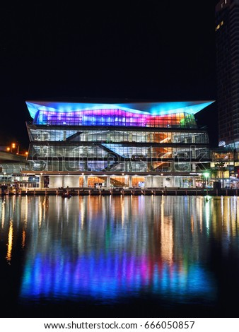 SYDNEY, AUSTRALIA - MAY 29, 2017: Night view of International Convention Center at Darling Harbour