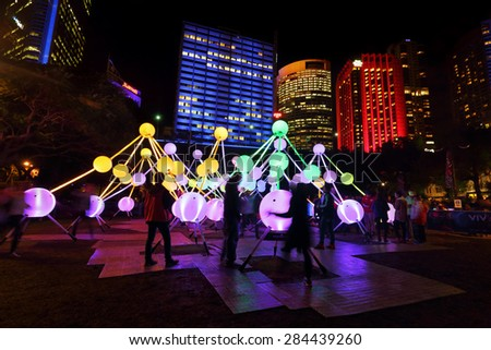 SYDNEY, AUSTRALIA, MAY 25, 2015:  Public enjoy the Affinity installation at Vivid Sydney, which  depict complexity and connectivity of human brain and neurons.   Artists:  amigo & amigo + S1T2  - stock photo