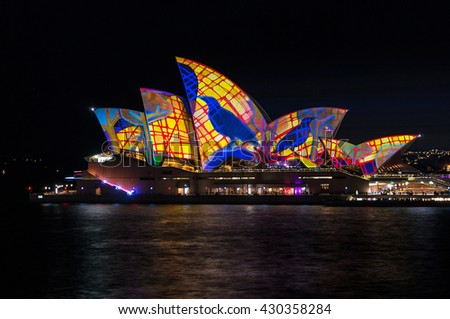 Sydney, Australia - 2016, May 27: Sydney Opera House illumination Lighting the Sails on annual outdoor lighting festival Vivid Sydney: Festival of Light, Music and Ideas - stock photo