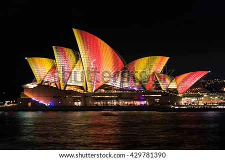 Sydney, Australia - 2016, May 27: Sydney Opera House illumination Lighting the Sails Songlines as part of annual outdoor lighting festival Vivid Sydney: Festival of Light, Music and Ideas