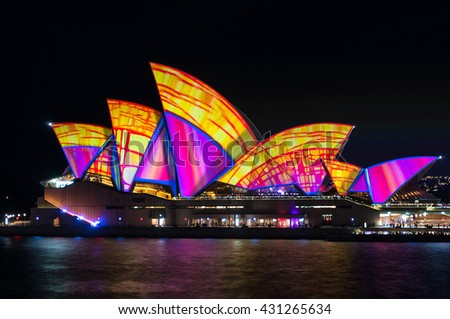 Sydney, Australia - 2016, May 27: Sydney Opera House illumination Lighting the Sails Songlines on annual outdoor lighting festival Vivid Sydney - stock photo