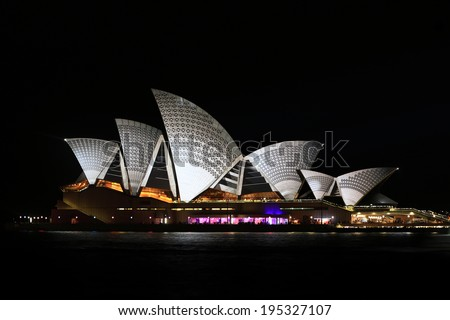 Sydney, Australia - May 27 2014: Sydney Opera House shown during Vivid Sydney: A Festival of Light, Music & Ideas on May 27, 2014 in Sydney, Australia.