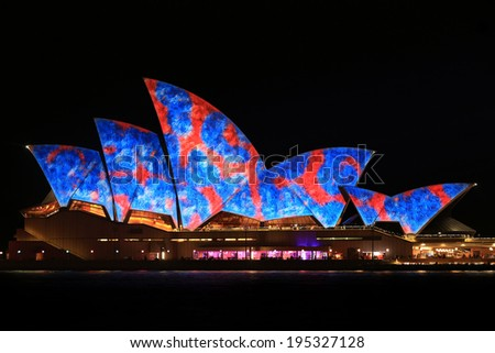 Sydney, Australia - May 27 2014: Sydney Opera House shown during Vivid Sydney: A Festival of Light, Music & Ideas on May 27, 2014 in Sydney, Australia. - stock photo