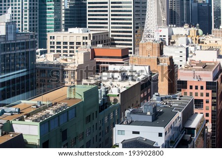 Sydney, Australia - May 14 - The view down Clarence St towards Sydney Tower in Sydney CBD on May 14th 2014.