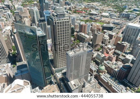SYDNEY, AUSTRALIA - NOVEMBER 17, 2014: Cityscape of Sydney from Westfield Tower.