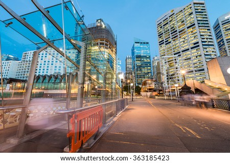 SYDNEY, AUSTRALIA - NOVEMBER 10, 2015 : Night scene of Darling Harbour, adjacent to the city center of Sydney and also a recreational place in Sydney central business district.