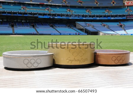 SYDNEY AUSTRALIA - NOVEMBER 26: podium for medalists in Olympic stadium Sydney, arena for the Olympics of the year 2000, Sydney November 26, 2009