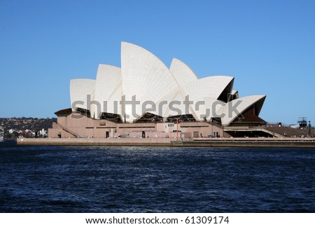 SYDNEY, AUSTRALIA - NOVEMBER 18: Side view of Sydney's most famous icon, the Sydney Opera House on November 18, 2005 in Sydney, Australia - stock photo