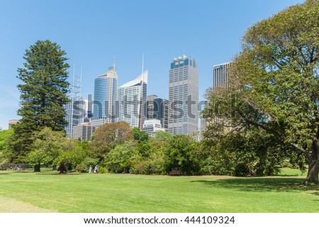 SYDNEY, AUSTRALIA - NOVEMBER 05, 2014: Sydney Business Architecture with Park in Foreground