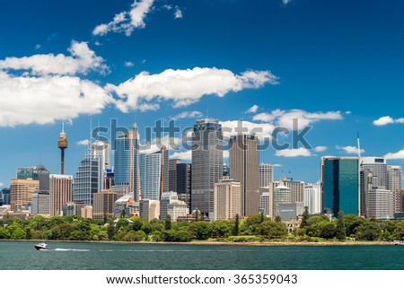 Sydney, Australia - November 09, 2015: Sydney city skyline on a bright day. Sydney is the state capital of New South Wales and the most populous city in Australia and Oceania.