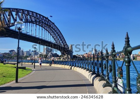 Sydney, Australia - November 28  - Sydney Harbor Bridge in daytime on 28th November  2014 - stock photo