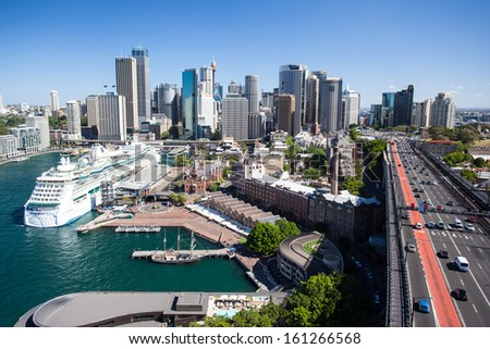 SYDNEY, AUSTRALIA - OCTOBER 13 - The Sydney CBD and surrounding harbour, including Circular Quay on a clear spring day on October 13th 2013.