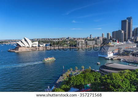 Sydney,Australia on 30th Dec 2015: Circular Quay in Sydney is a neighbourhood for tourism and is made up of malls and restaurants and  hosts a number of ferry quays, bus stops, and a train station - stock photo
