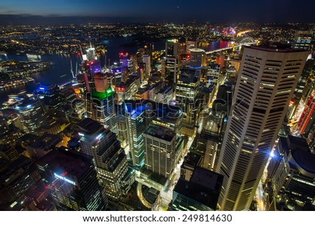 Sydney, Australia - September 20: Aerial view of the Central Business District in Sydney, Australia on September 20, 2014. - stock photo