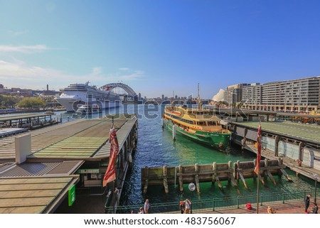SYDNEY, AUSTRALIA : 9 SEPTEMBER 2016 - Darling Harbour Ferry services, Sydney, New South Wales