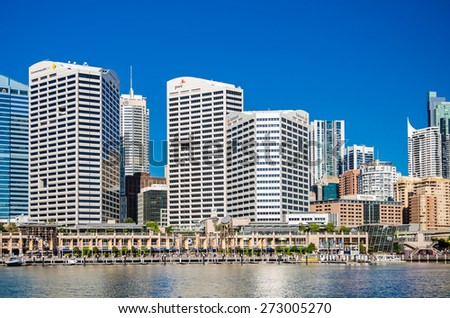 Sydney, Australia - September 14, 2012: Modern skyscrapers in the Sydney Business District, view from the Darling Harbor. Sydney is the state capital of New South Wales. - stock photo