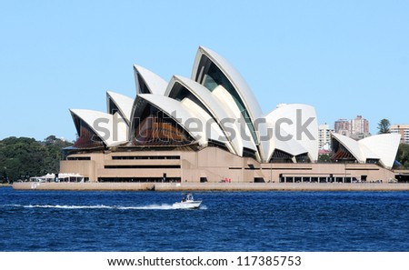 SYDNEY, AUSTRALIA - SEPTEMBER 1: Side view of Sydney's most famous icon, the Sydney Opera House on September 1,2012 in Sydney, Australia. The Opera House will celebrate its 40th anniversary in 2013.