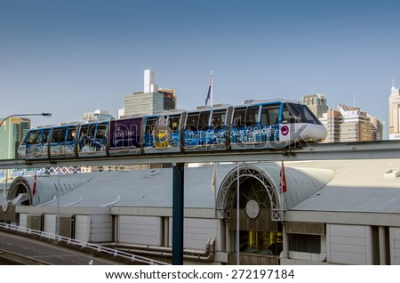 Sydney, AUSTRALIA - 14 September 2012:  Sydney Monorail train traveling towards the Darling Harbour during a day - stock photo